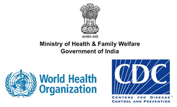 Ministry of Health & Family Welfare logo wHO logo CDC logo